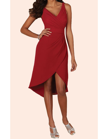 Discount V-Neck Sleeveless High-Low Short Red Chiffon Homecoming Dress