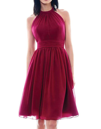 Sexy Halter Knee Length Short Red Chiffon Homecoming/ Prom Dress