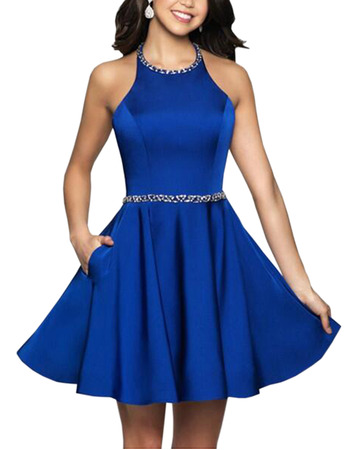 2019 New Style A-Line Halter Short Satin Backless Blue Homecoming Dress