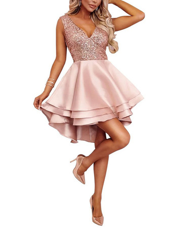 Custom A-Line V-Neck High-Low Short Satin Beading Homecoming Dress
