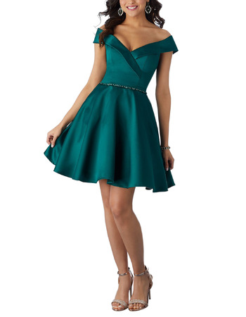 Inexpensive Off-the-shoulder V-Neck Short Satin Homecoming Dress