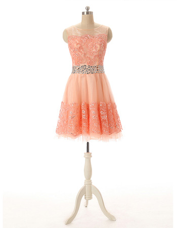 Affordable A-Line Short Tulle Applique Beading Homecoming Dress