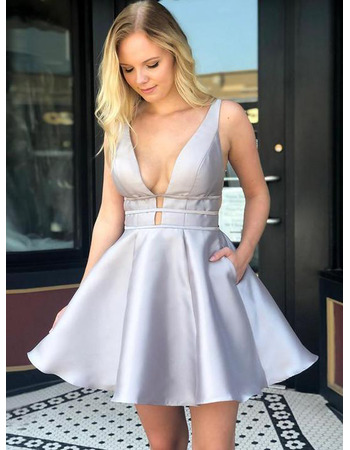 Sexy A-Line V-Neck Short Satin Homecoming/ Prom Dress