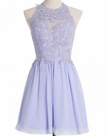 Simple Halter Short Chiffon Applique Beading Homecoming Dress