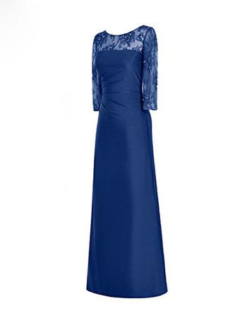2020 Elegant Floor Length Satin Mother Dress with 3/4 Long Sleeves