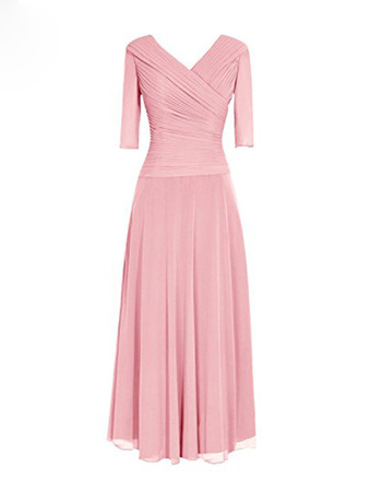 Modest V-Neck Floor Length Chiffon Mother Dress with 3/4 Long Sleeves