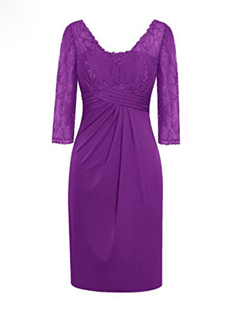 Designer V-Neck Short Satin Lace Plus Size Mother Dress with 3/4 Long Sleeves