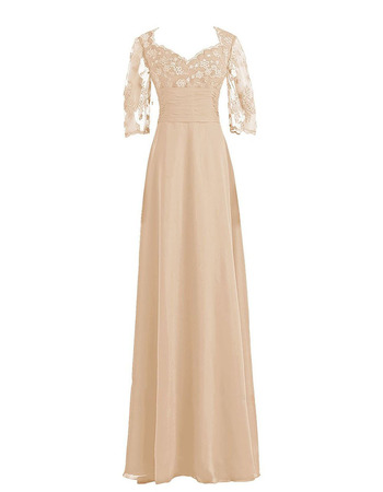 Elegant Long Chiffon Mother Formal Dress with 3/4 Long Sleeves