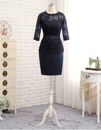 Designer Bodycon Short Satin Lace Mother Dress with 3/4 Long Sleeves