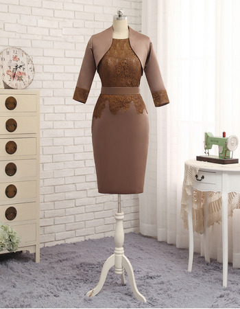 Affordable Bodycon Knee Length Satin Mother Dress with Jackets