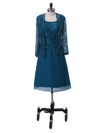 Casual Knee Length Lace Chiffon Plus Size Mother Dress with Lace Jacket