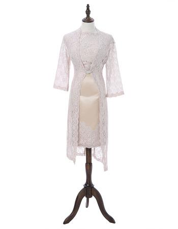 2019 Stylish Sheath Short Satin Lace Mother Formal Dress with Jackets