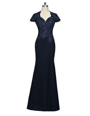 Simple Sheath Floor Length Chiffon Mother Dresses with Short Sleeves