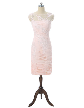 2020 Classy Column Sleeveless Short Chiffon Pleated Mother Dresses