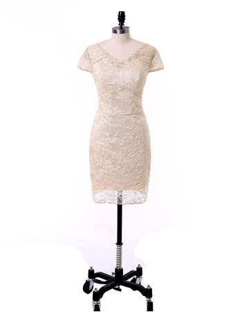 Modern Column V-Neck Short Lace Mother Dresses with Short Sleeves