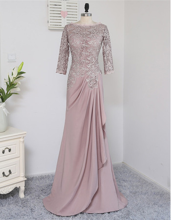 Elegant A-Line Long Chiffon Lace Mother Dress with 3/4 Long Sleeves
