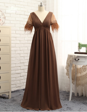 2020 New V-Neck Long Chiffon Mother Formal Dress with Short Sleeves