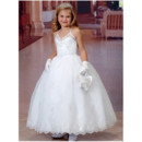 Girls Modern Princess Ball Gown Ankle Length Organza Flower Girl/ First Communion Dress