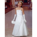 Girls Cheap Classy White Satin Embroidery First Communion Dress