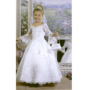 Girls Ball Gown First Communion Dress/ Long Sleeves Flower Girl Dress
