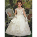 Classic Ball Gown Off-the-shoulder Taffeta First Communion/ Flower Girl Dress