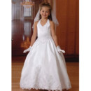 White Bubble Skirt First Communion Dresses/ Satin Halter Flower