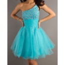Custom Blue Short Homecoming Dress/ One Shoulder Prom Dress for