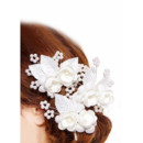White Silk Fascinators with Flowers and Beads for Brides