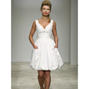 Summer V-Neck Short Beach Wedding Dress with Pockets