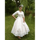 Affordable Vintage A-Line V-Neck Tea Length Lace Garden Wedding Dress with Half Sleeves