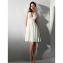 Empire Halter Knee Length Short Chiffon Beach Wedding Dress/ Casual Reception Wedding Gown