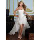 A-Line Sweetheart Petite Applique Organza High-Low Garden Wedding Dress