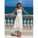 Affordable Classic Summer Strapless Lace High-Low Beach Wedding Dress