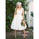 Affordable Vintage Classic Knee Length Lace Short Reception Wedding Dress