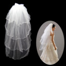 Inexpensive 1 Layer Tulle Wedding Veil with Beading for Bride