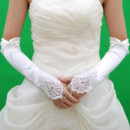 Inexpensive Beautiful Elastic Satin 3/4 Length Wedding Gloves with Embroidery and Beading