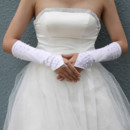 Beautiful Elastic Satin Elbow Wedding Gloves with Beading for Bride