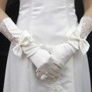 Beautiful Elastic Satin and Lace Elbow Wedding Gloves with Bowknot for Bride
