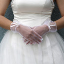Beautiful Tulle Wrist Wedding Gloves with Ribbon and Beading for Bride