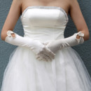 Beautiful Elastic Satin Elbow Wedding Gloves with Bowknot for Bride