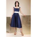 Vintage A-Line Square Knee Length Taffeta Bridesmaid Dress