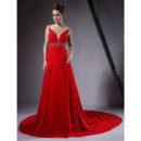 Sexy A-Line Chapel Train Red Chiffon Prom Evening Dress for Women