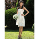 Informal Simple Strapless Taffeta Knee Length Ruffled Summer Wedding Dress