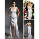 Designer Sheath/ Column Floor Length Satin Wedding Dress