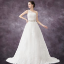 Classic A-Line One Shoulder Chapel Train Wedding Dress