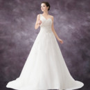 Elegant A-Line One Shoulder Court Train Organza Wedding Dress