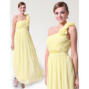 Elegant One Shoulder Ankle Length Chiffon Spring Bridesmaid Dress for Maid of honour