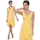 Custom Best Sheath V-Neck Knee Length Chiffon Bridesmaid Dress for Maid of honour