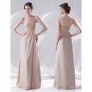 Elegant Sheath One Shoulder Floor Length Chiffon Evening Prom Dress