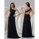 Sexy Sheath One Shoulder Floor Length Satin Black Prom Evening Dress